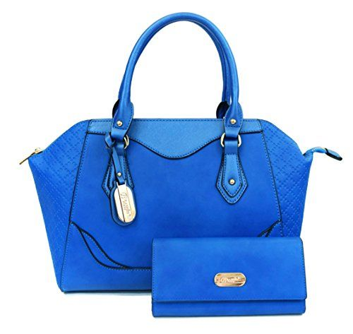 Brangio Italy Mariah Dome Shaped SatchelStyle Handbag  Wallet Set  Blue >>> Read more reviews of the product by visiting the link on the image.