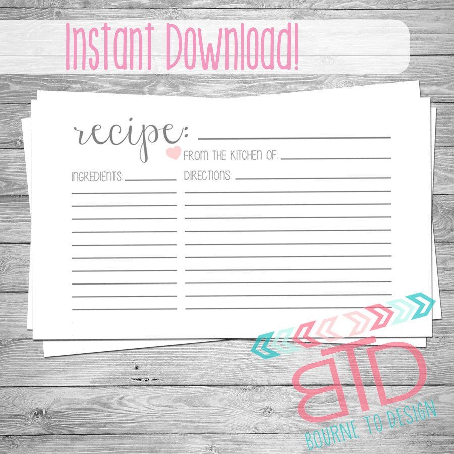 Recipe Card Printable Recipe Card Instant Download Kitchen Decor Customizable Recipe Cards Template Printable Recipe Cards Recipe Cards Printable Templates
