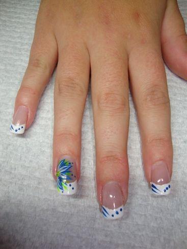 blue flower  flower nail designs acrylic nail designs nails
