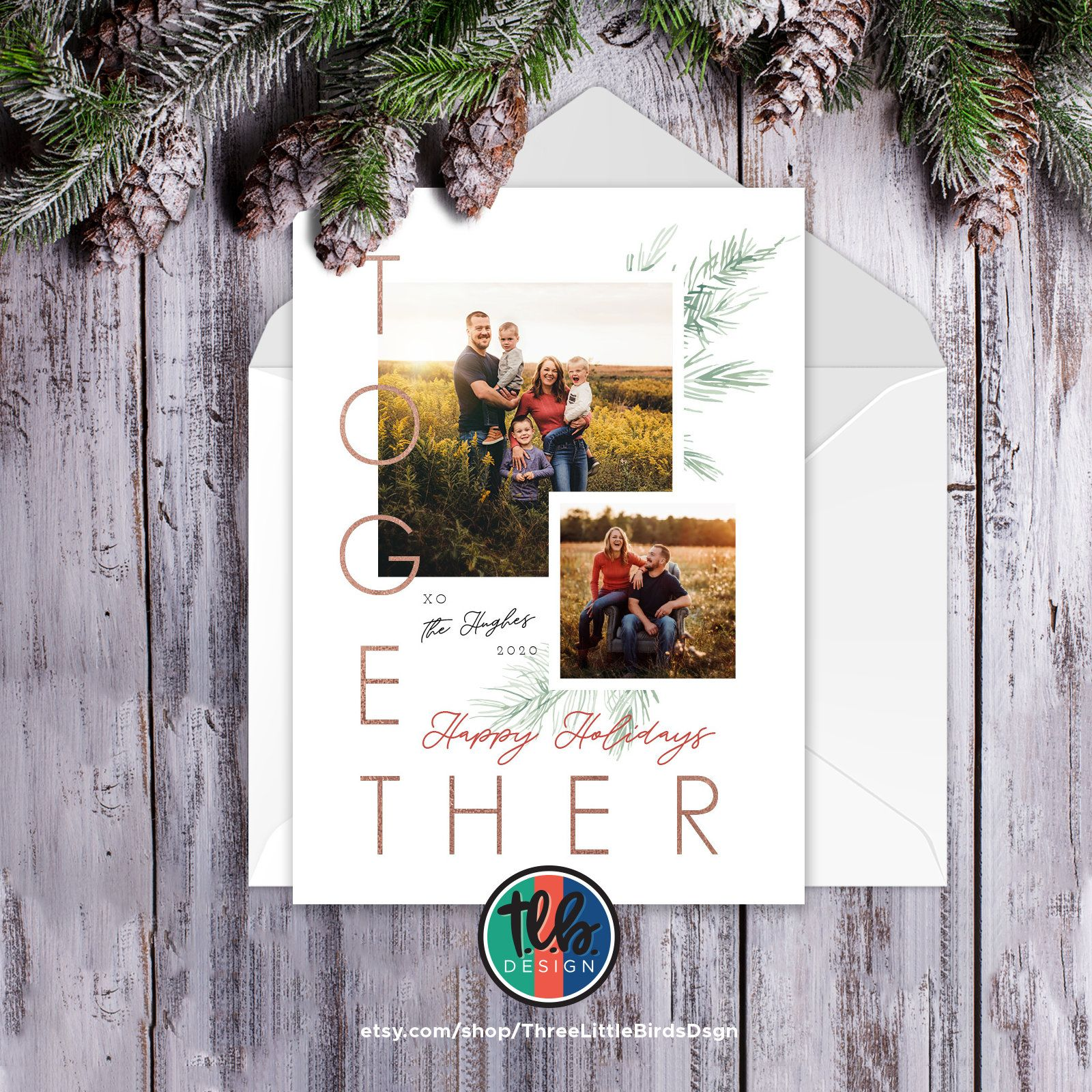 Family Photo Christmas Card With 2 Photos Goodbye Distancing Etsy Christmas Photo Cards Family Christmas Card Photos Christmas Cards