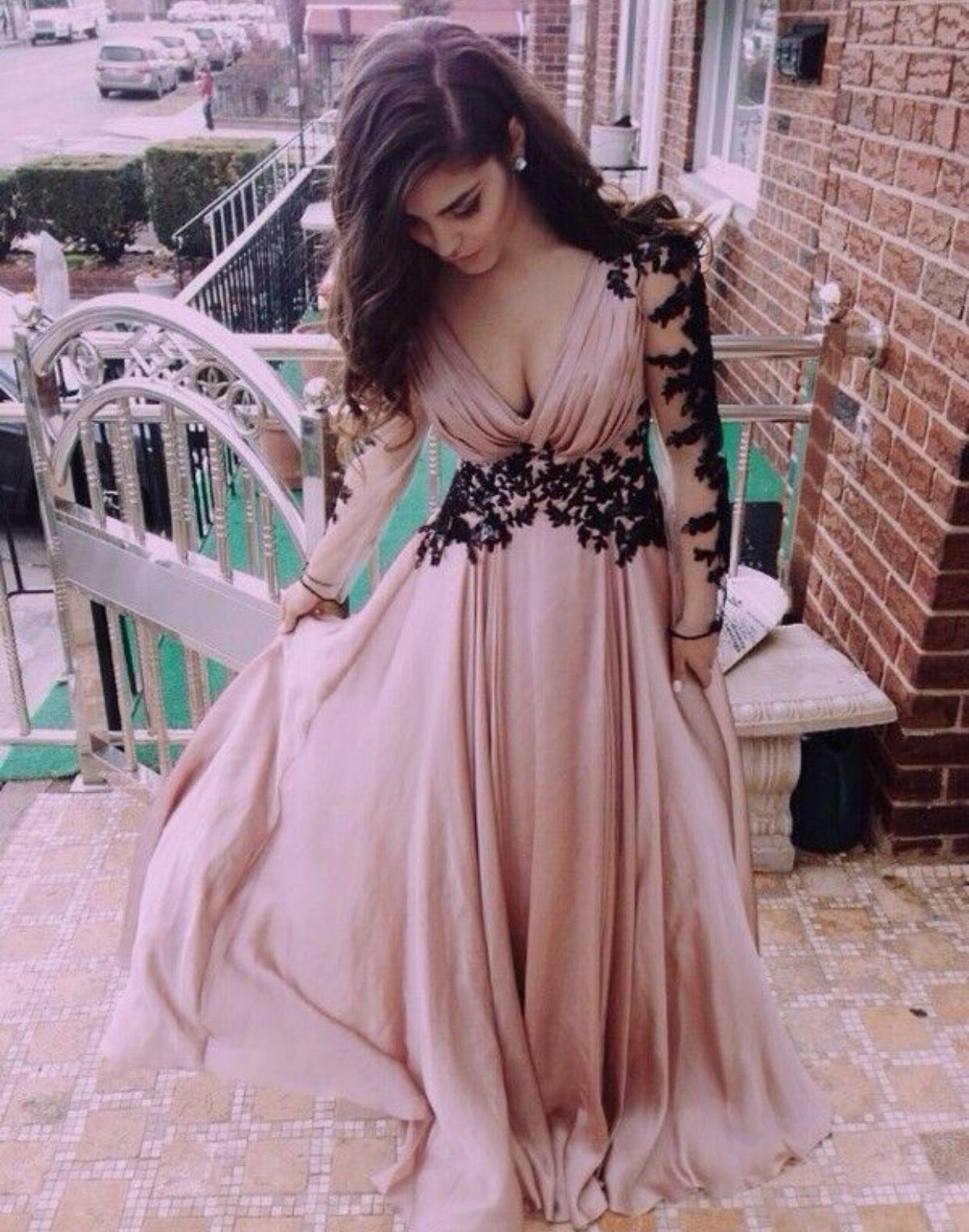 hot sale pink prom dresslong sleeves with black appliquessexy