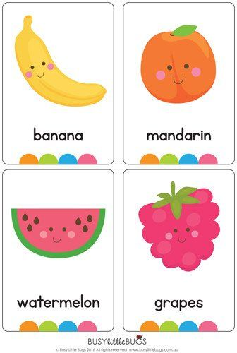 """Our set of printable """"Fruit & Vegetable Flash Cards"""" are a great learning tool for early literacy and would be a great addition to a health unit. All brightly coloured and of high quality.  There are 32 brightly coloured, high quality printable flash cards in this pack containing common fruit and vegetables and includes both Australian and American spelling. Please contact me if you would like these cards in another font."""