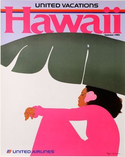 Vintage United Airlines Hawaii poster by the one and only Pegge Hopper. #fly #hawaii #airline #plane #vintage #poster