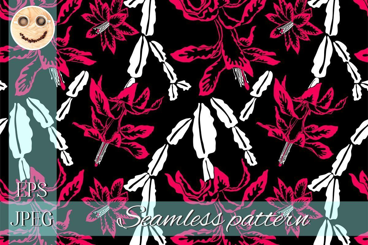 Blooming cactus red, black and white  Custom-Designed Graphic Patterns -  Vector...#black #blooming #cactus #customdesigned #graphic #patterns #red #vector #white
