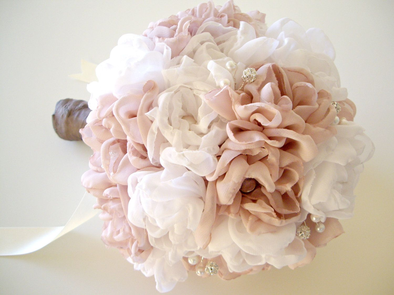 Fabric bridal bouquet vintage inspired weddings handmade fabric fabric bridal bouquet vintage inspired weddings handmade fabric flower bouquet chiffon peonies rhinestone bouquet 13000 via etsy izmirmasajfo