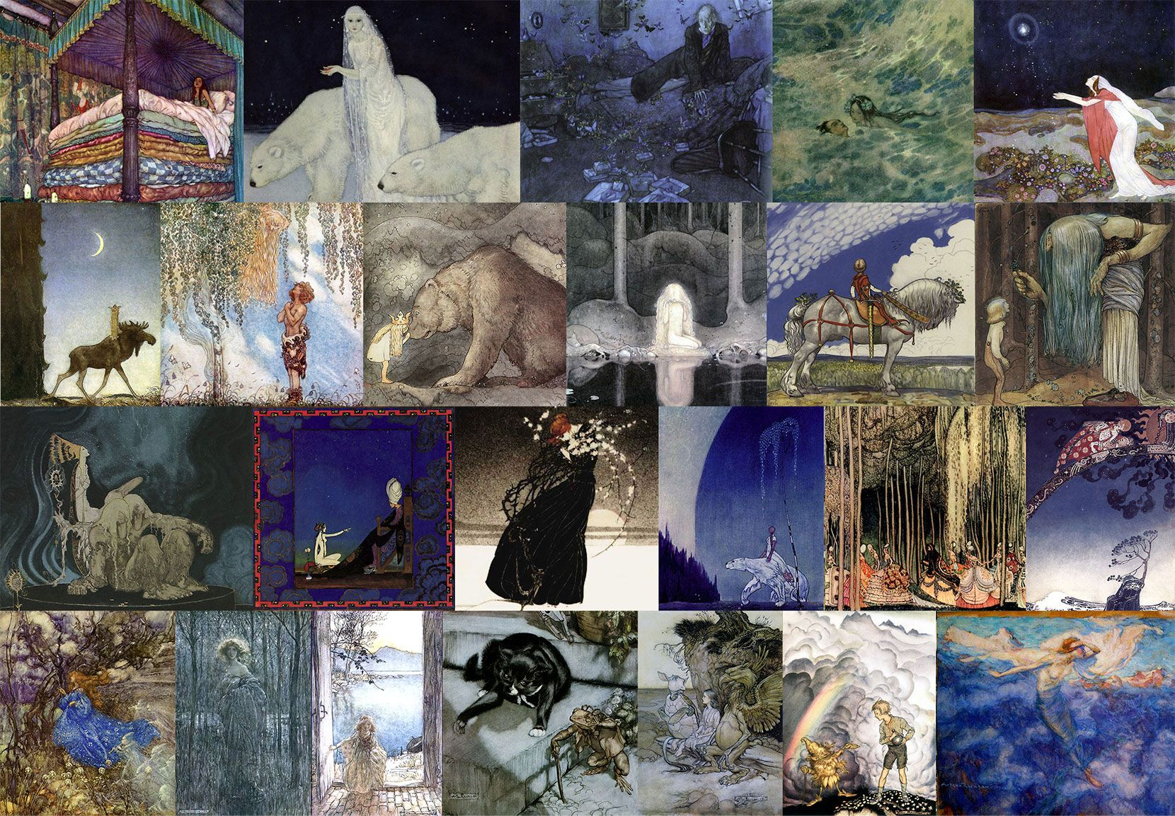 Pinned for later from artpassions.net:  Top Row: Edmund Dulac - Real Princess, Dreamer of Dreams, Entymologist's Dream, Little Mermaid, Stealers of Light.  Second Row: John Bauer - Leap the Elk, He Found Her Hiding ir, Poor Cecco, Alice in Wonderland, King of the Golden River, Alpine Rest