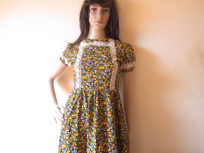 True Vintage 70s Hippie Maxi Dress Mille Fleurs Cotton Xs