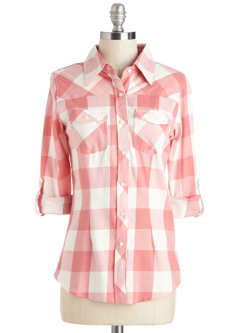 Simply Scout Top in Flamingo - Mid-length, Cotton, Woven, White, Coral, Plaid, Print, Buttons, Pockets, Work, Casual, 3/4 Sleeve, Spring, Pastel