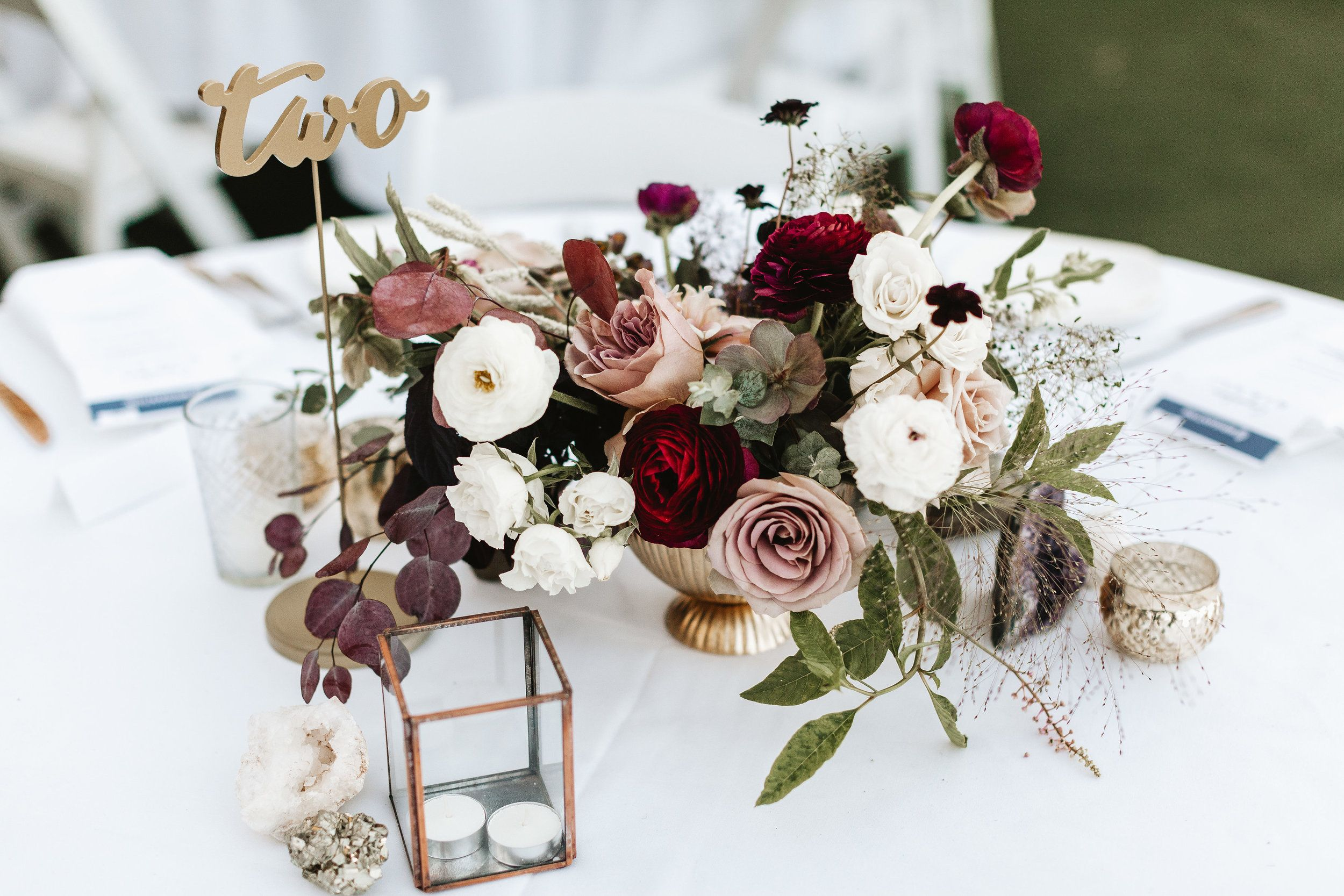 Pink and maroon wedding decor  purple wedding romantic wedding centerpieces geo wedding the