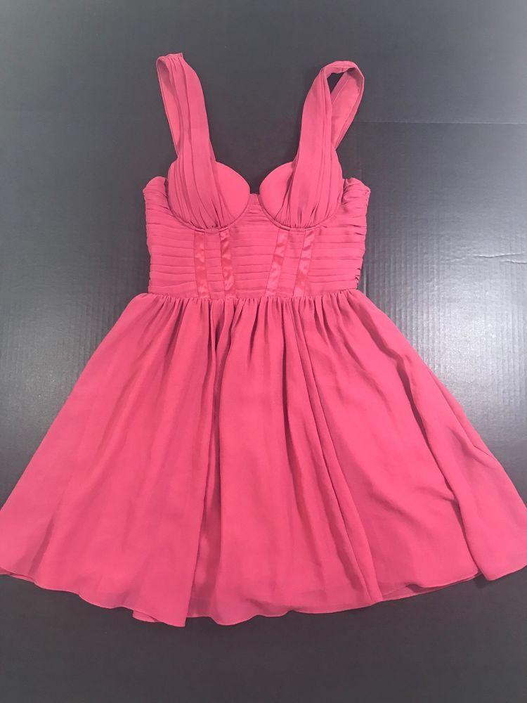665c4836dfe3 H&M Pink Chiffon Flowy Sleeveless pleated chest Mini Dress Size 4 NWT 1044 # HM #PartyCocktail