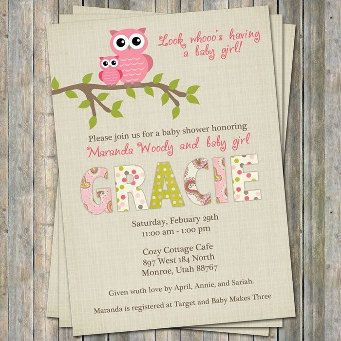 Paisley owl baby shower invitations, baby shower invitation with ...