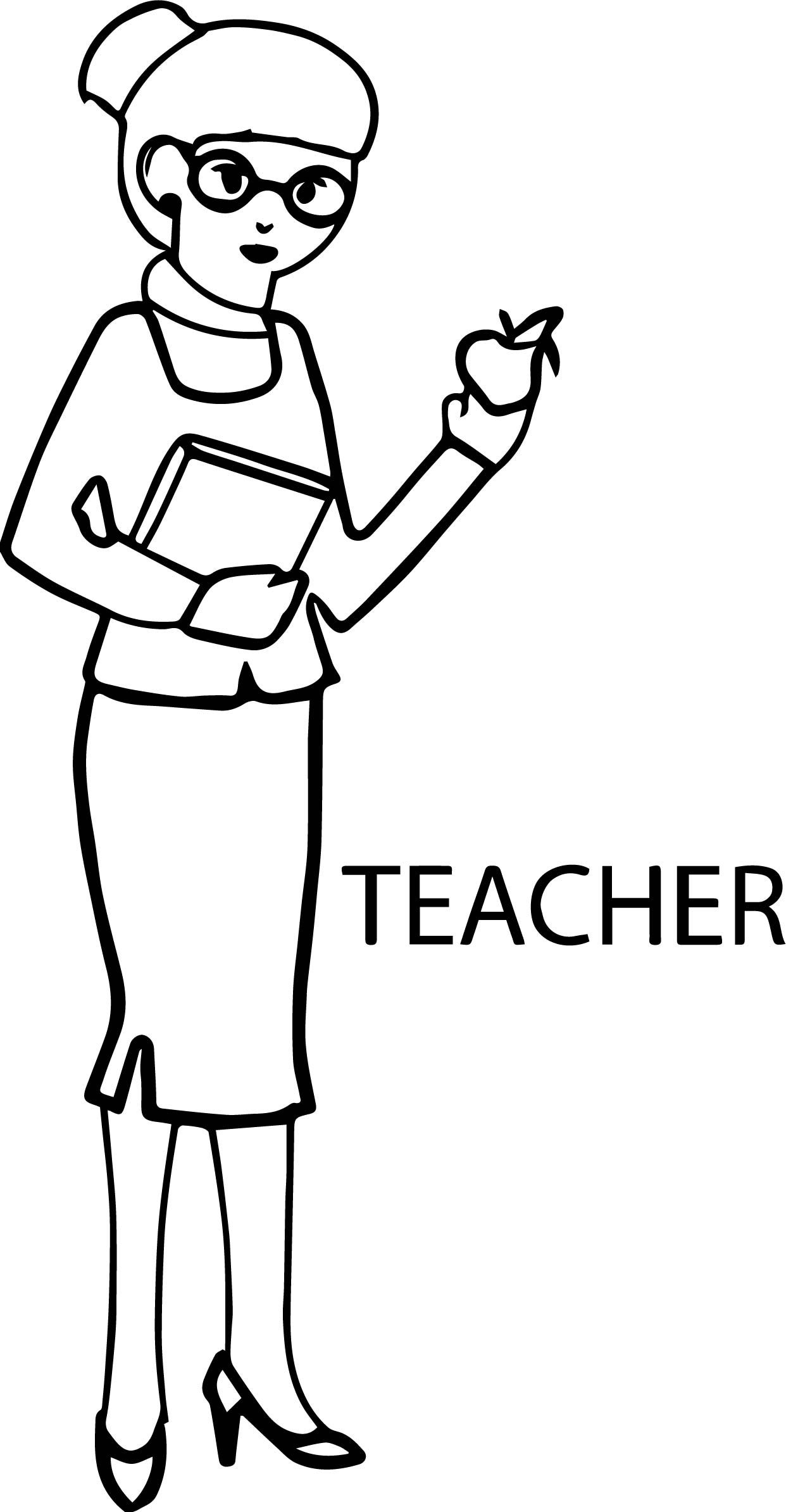 Cool English Woman Teacher And Apple Coloring Page