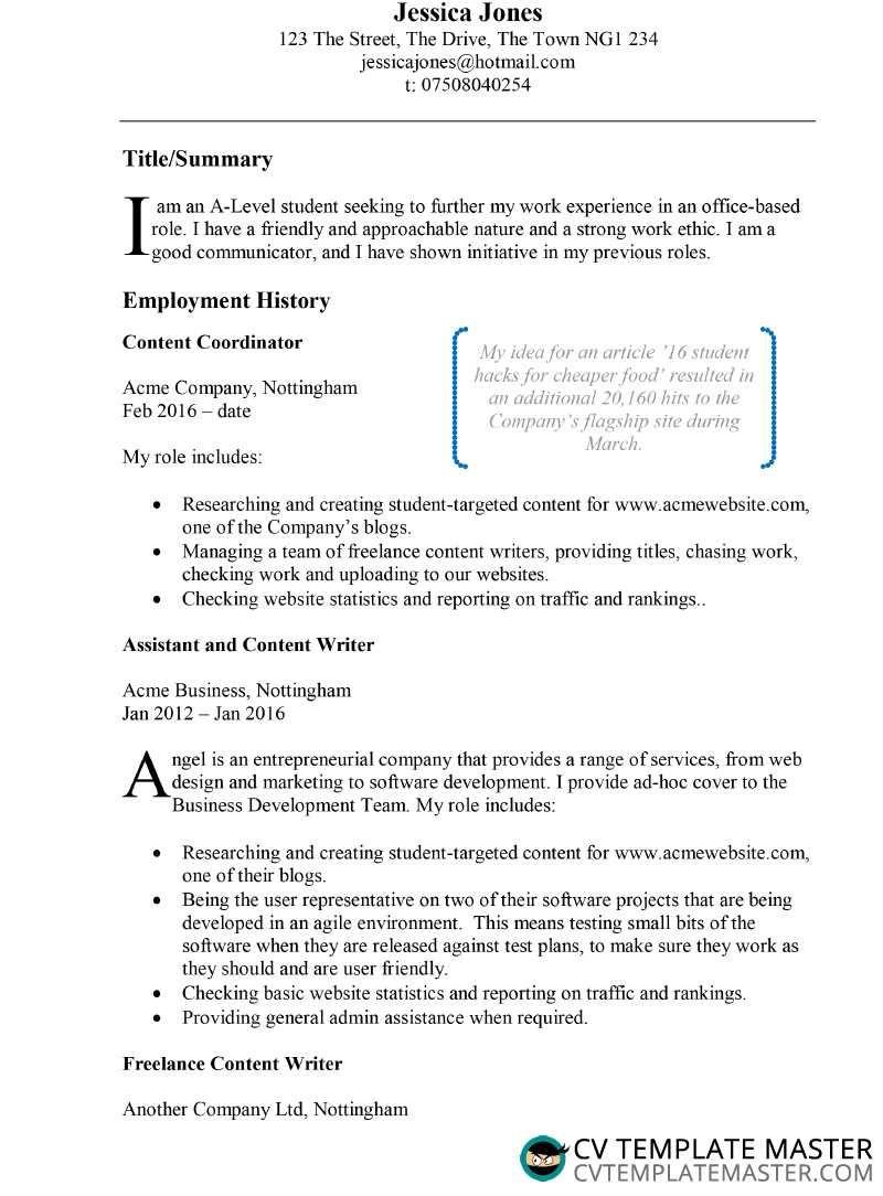 Example Cv Template In Microsoft Word Cvtemplatemaster