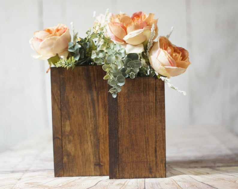 2 Wood Vase Centerpiece Square Vase Faux Flower Vase Rustic Wedding Table Decoration Farmhouse Decor Wooden Flower Holder Country Barn Rustic Wedding Table Decor Wood Vase Centerpiece Rustic Wedding Table
