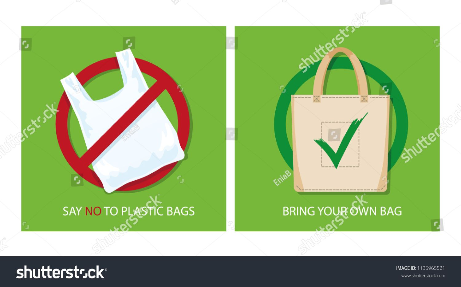Pollution Problem Concept Say No To Plastic Bags Bring