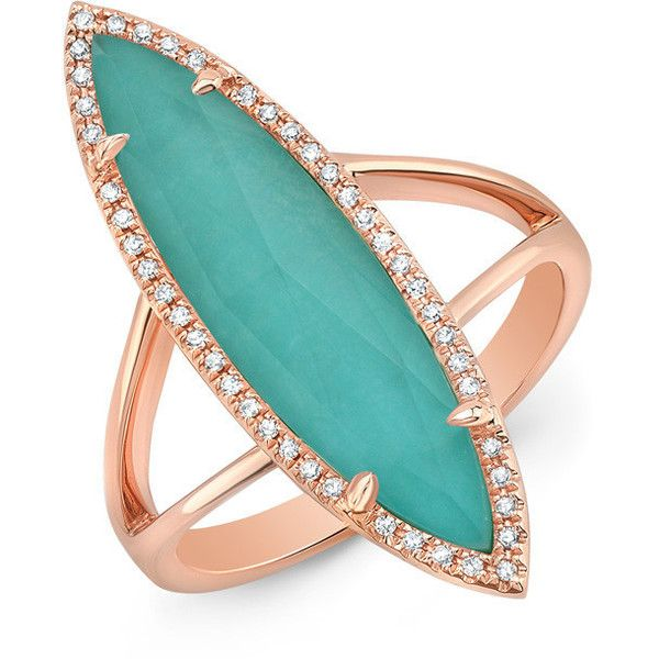 14kt rose gold diamond small turquoise turquesa ring 9375 DKK