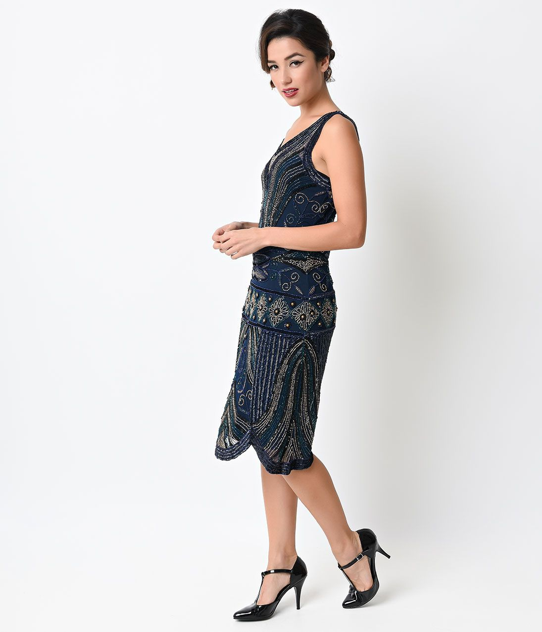 Preorder -  Unique Vintage 1920s Navy Deco Beaded Caspian Flapper Dress $298.00 AT vintagedancer.com
