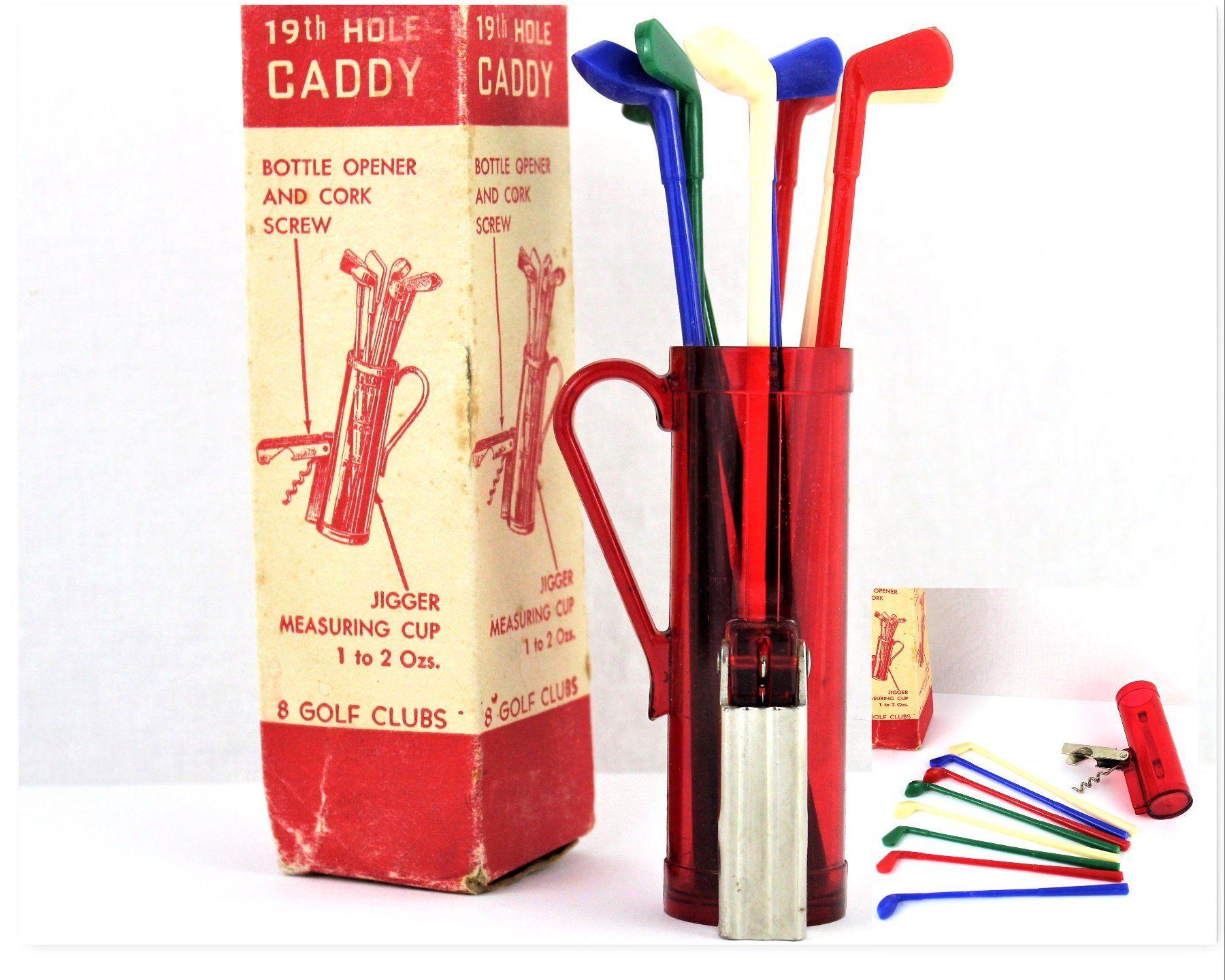 Vintage Corkscrew 19th Hole Caddy Barware Caddy Golf Bag Barware Wine Opener Vintage Corkscrew Wine Opener Corkscrew Vintage Bottle