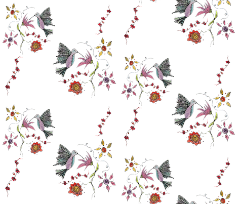 Hummingbird Garden fabric by therustichome on Spoonflower - custom fabric