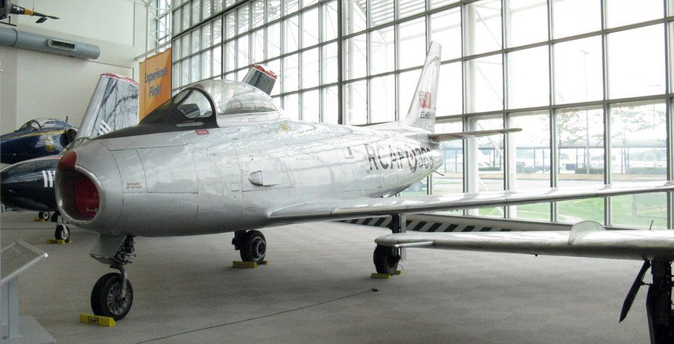 Did you know that the the F-86 Sabre was the United States' first fighter to fly supersonic -- in a dive? The Museum's CL-13B flew with the Royal Canadian Air Force until 1974, and served The Boeing Company as a chase plane for their flight test division until donated in 1991.