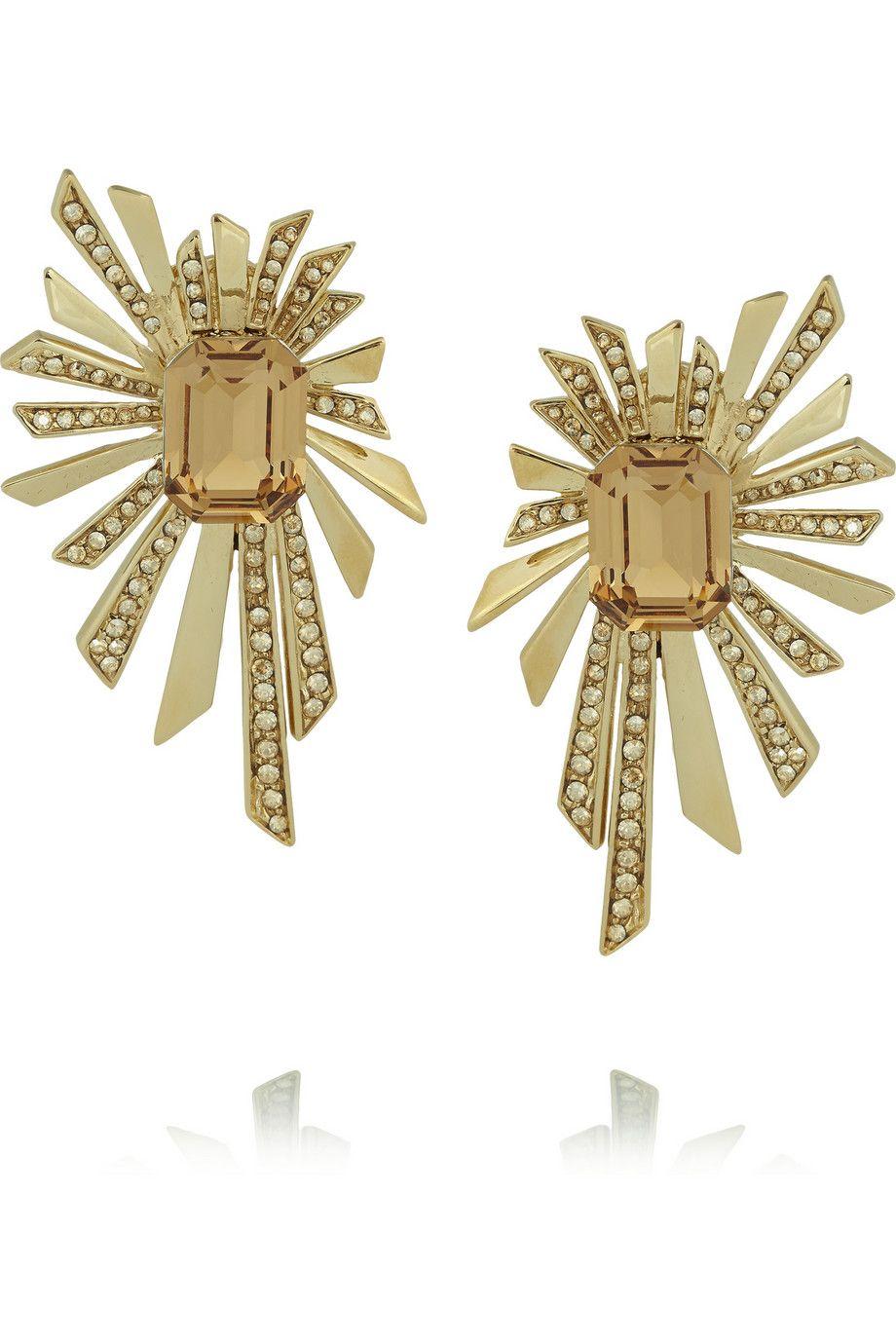 Roberto Cavalli Gold Plated Swarovski Crystal Clip Earrings Net A Porter Com