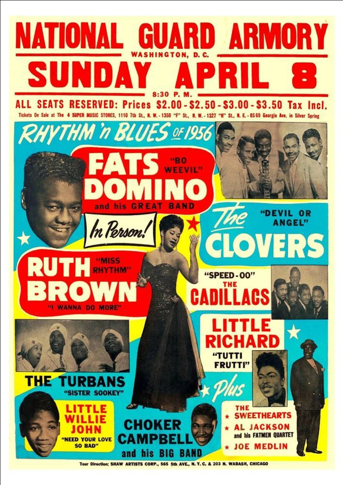 RR19 Vintage Fats Domino Rock /& Roll Concert Advertisement Music Poster A3//A4