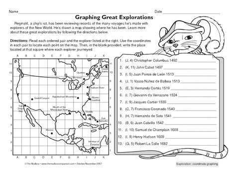 FREE Fun Worksheet To Practice Locating Points On A Map In Order - Map of us explorers coronado la salle