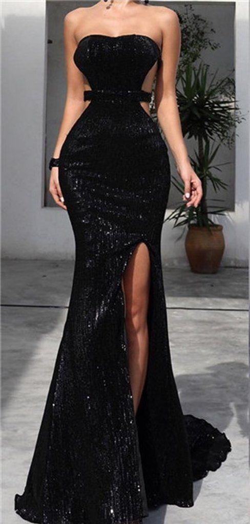 Strapless Long Mermaid Black Sequin Side Slit Prom Dresses