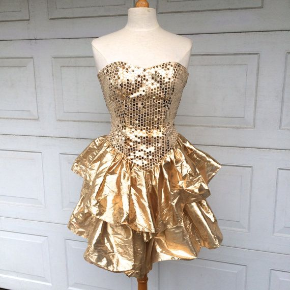 Little Gold Dress 80s Vintage Short Strapless By Jennyandpearl