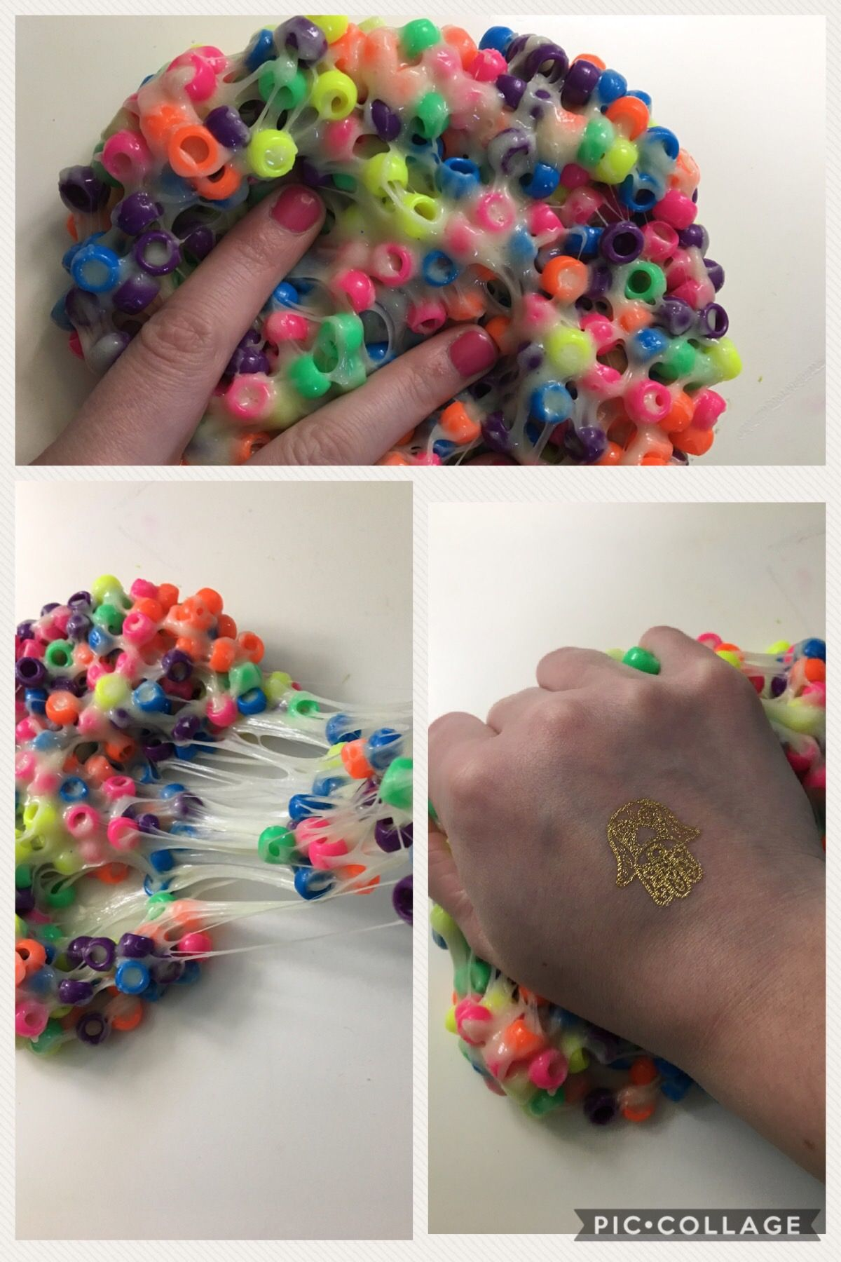 Wonder Bead Crunchy Slime 1 Cup School Glue 1 8 Tsp Of Baking Soda 1 Tbs Of Eye Contact Solution Make Sure It Has B Slime With Beads Diy Slime Slime Crunchy