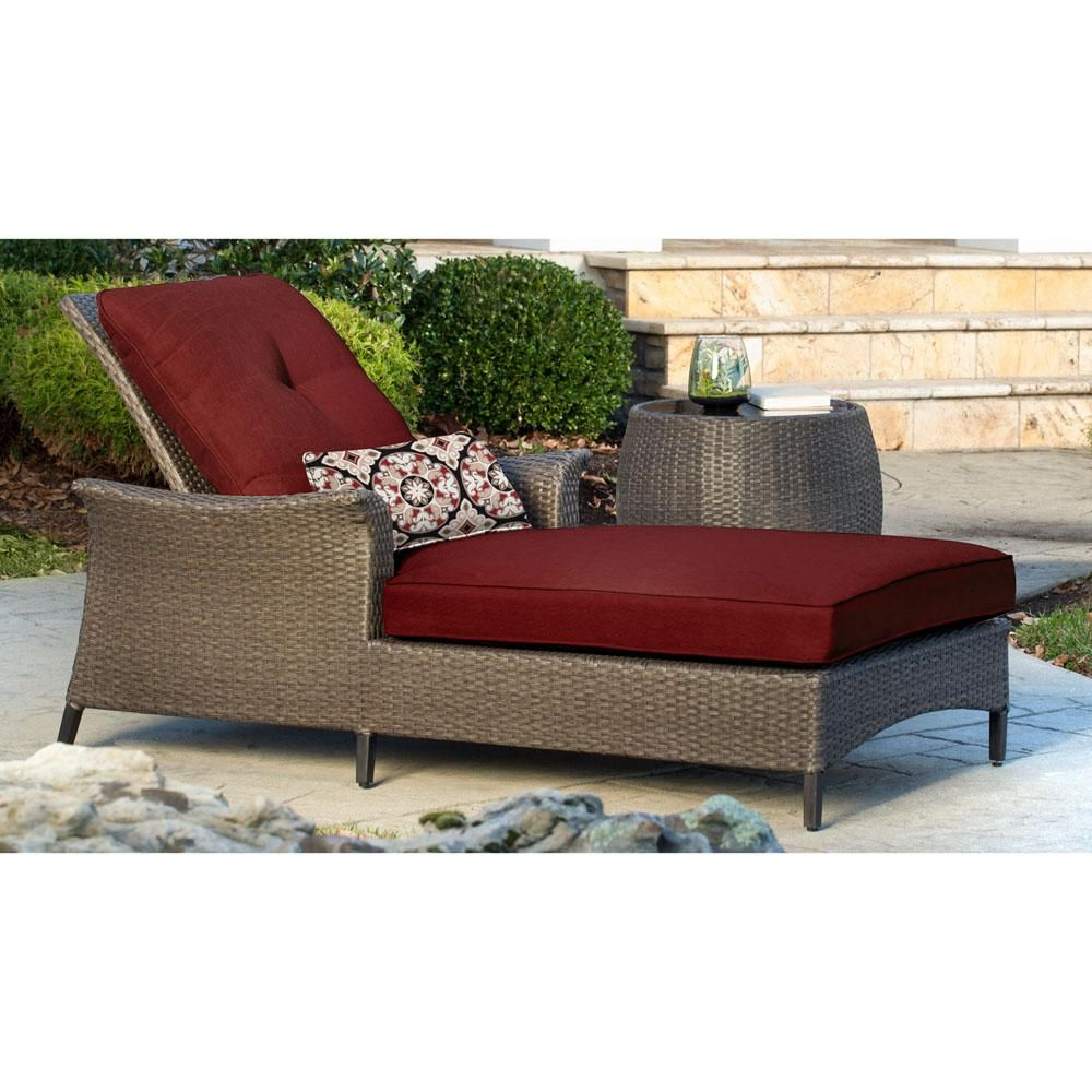 Hanover Gramercy 2 Piece All Weather Wicker Chaise Patio Seating Set With Crimson Red Cushions Gram Patio Seating