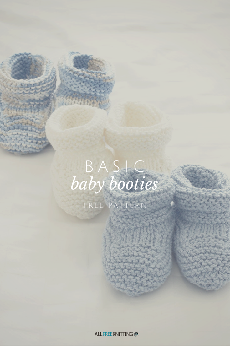 Basic Knit Baby Booties | Knitting patterns, You ve and Patterns