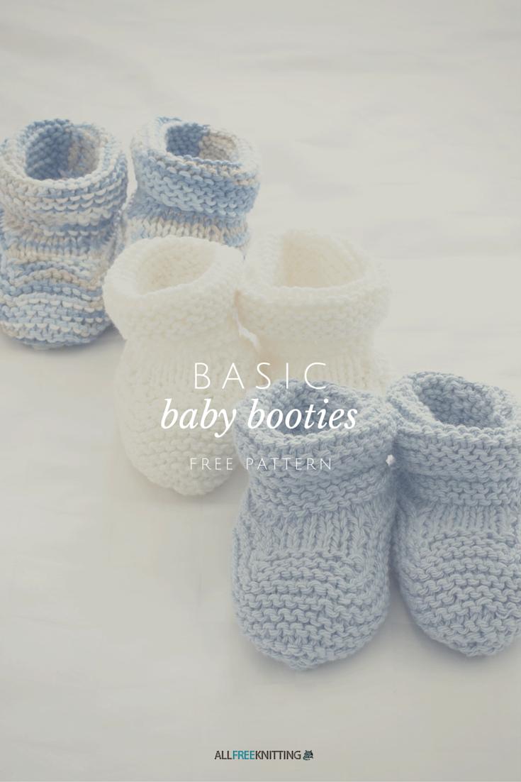 Basic Baby Booties | Tejido, Dos agujas y Bebe