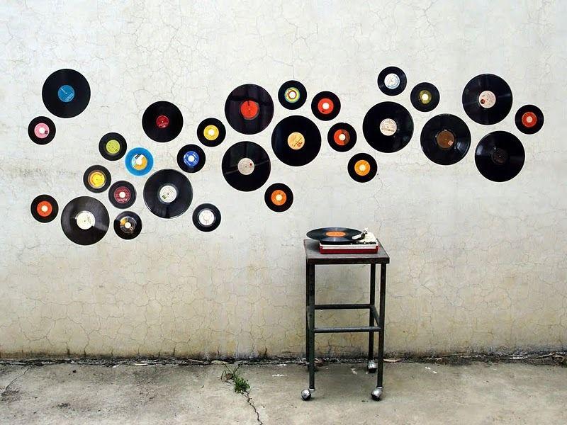 Decoración De Pared Con Discos De Vinilo Reciclaje Men En