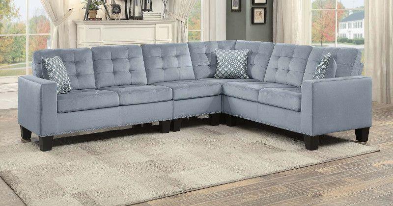 Home Elegance He 9957gy 2 Pc Lantana Gray Fabric Reversible Sectional Sofa Set Nail Head Trim Sectional Sofa Sectional Sofa Set