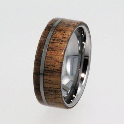 Tungsten Wedding Rings / Tungsten Ring / Wood Ring with Flat profile / Exotic Hard Wood - New1008