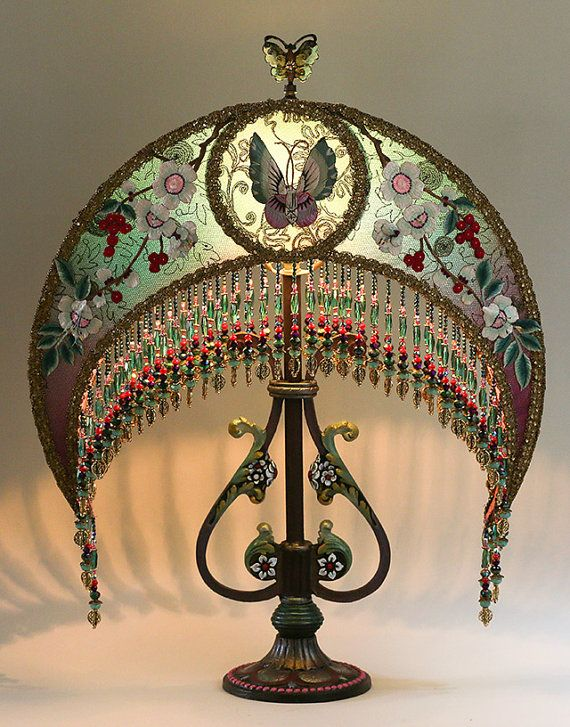 Victorian Vintage Beaded Chinoiserie Moon Table By