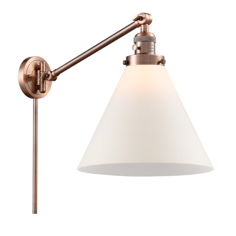 Photo of Innovations Lighting 237 X-Large Cone X-Large Cone Single Light 16″ Tall Bathroo Antique Copper / Matte White Cased Indoor Lighting Bathroom Fixtures