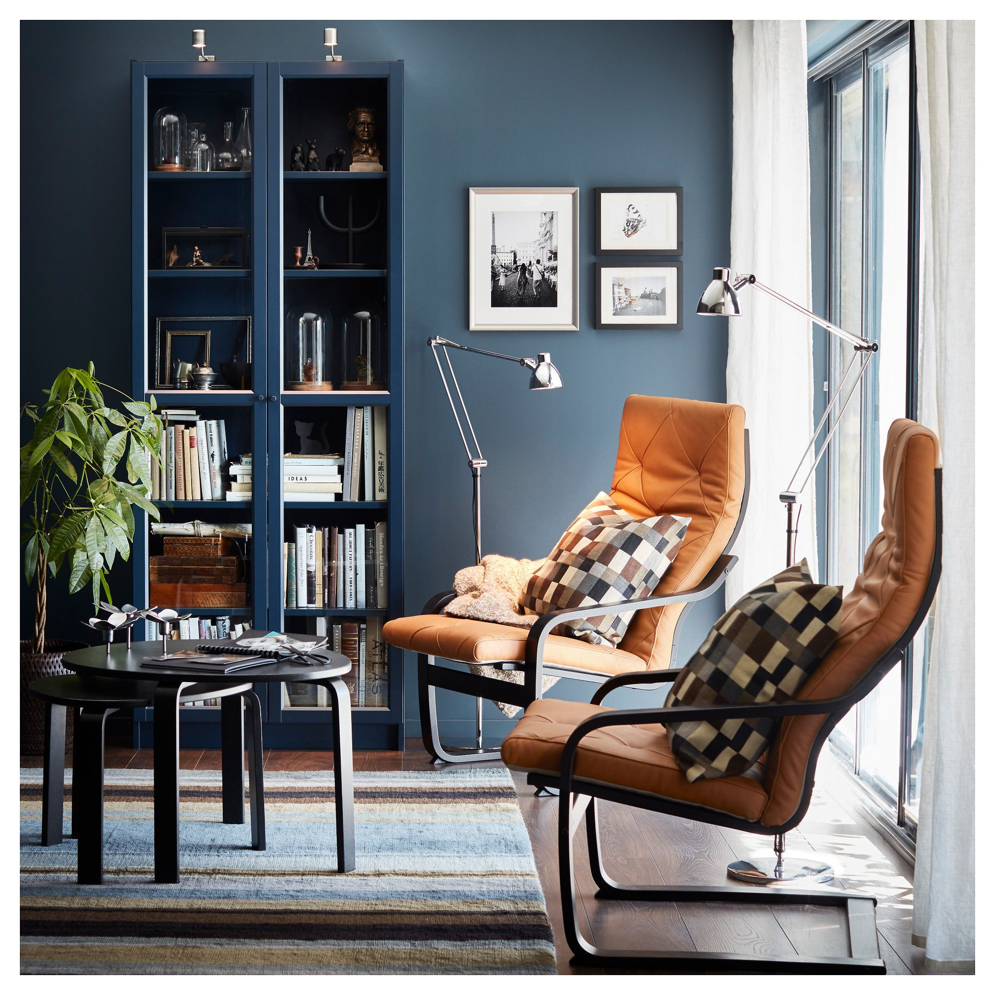 IKEA BILLY Dark Blue Bookcase with glass doors Bookcase