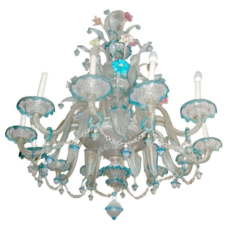 Spectacular Old Venetian Chandelier Italy 1930s 1940s Beautiful Example Of An Hand Blown Glass 12 Lights On One Tier With