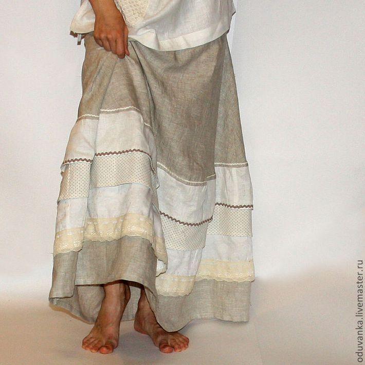 Юбка в стиле бохо из льна с несколькими рядами кружева
