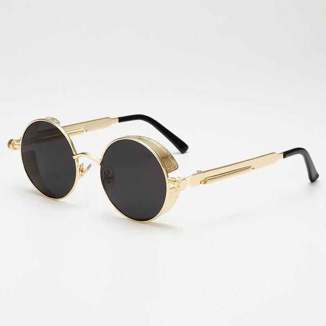 c179f1de44152 Giorgio Armani Vintage 90s Titanium Brass round glasses with clip on  sunglasses