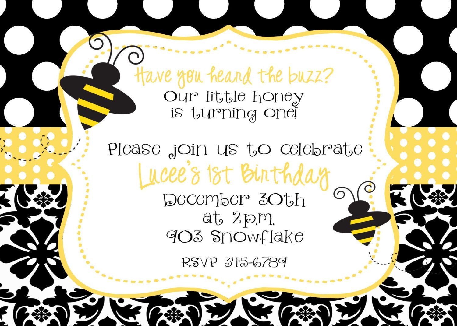 Bumble Bee Birthday Party Or Baby Shower Invitation Digital Printable File 950 Via