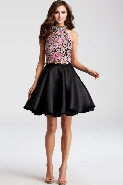 f83e6861841fbd two-piece embellished a-line dress halter top style pleated short skirt  fitted bodice fashion black floral prom dress jovani