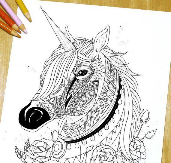 Sacred Unicorn - Adult Coloring Page Print   Unicorno, Sfondi