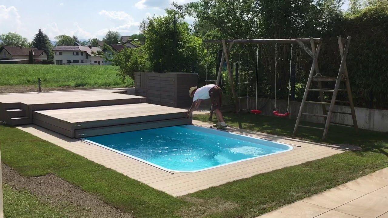 begehbare Poolabdeckung 27-teilig - YouTube  Pool cover, Backyard