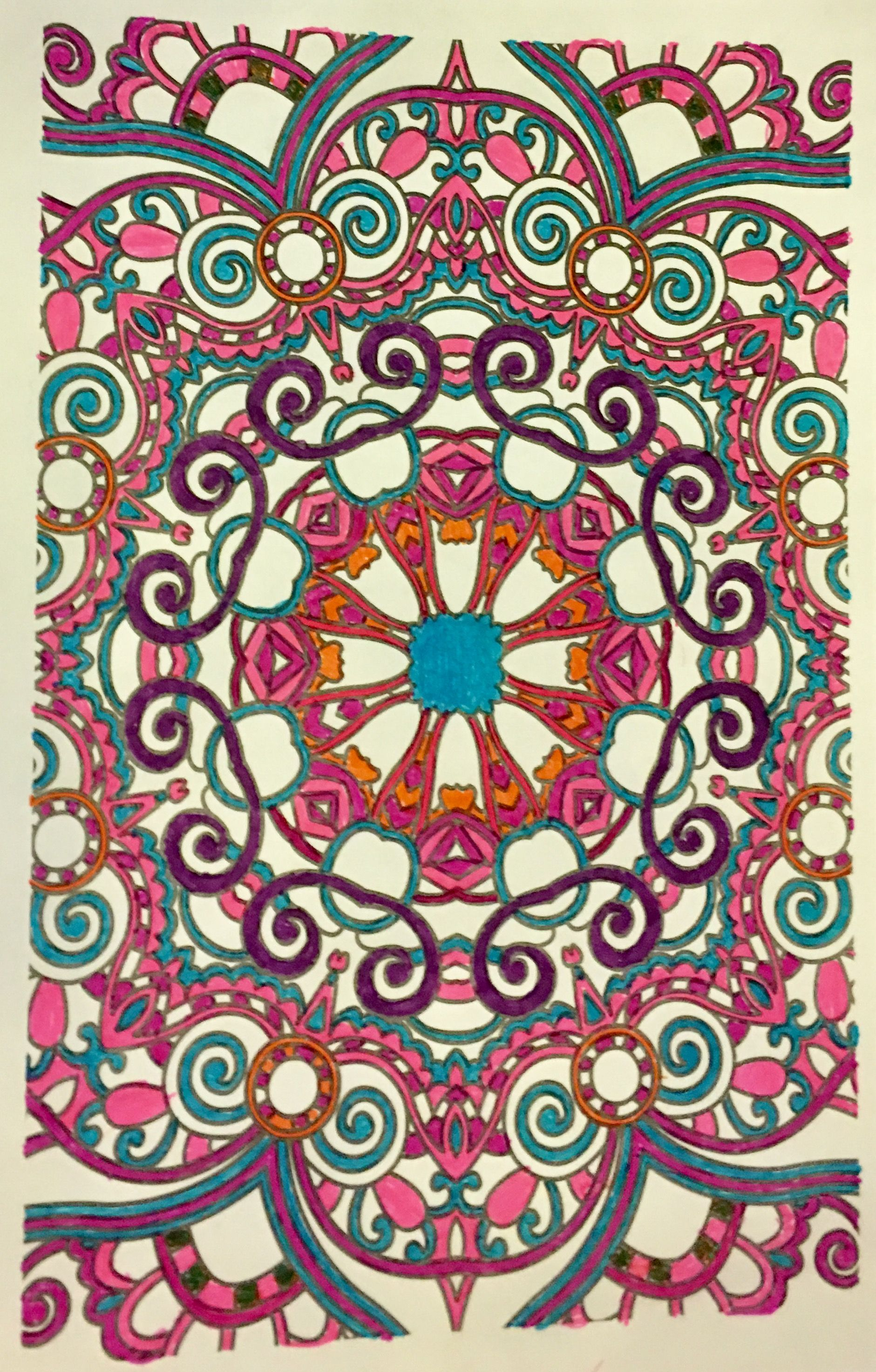 Mandala Colored With Gel Pens And Stabillo Pens Coloring By