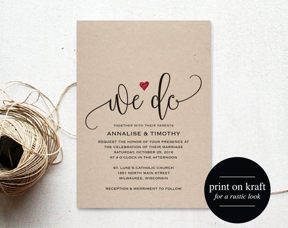 We Do Wedding Invitation Template Rustic Kraft Invitation Etsy Free Wedding Invitation Templates Free Wedding Invitations Wedding Invitation Templates