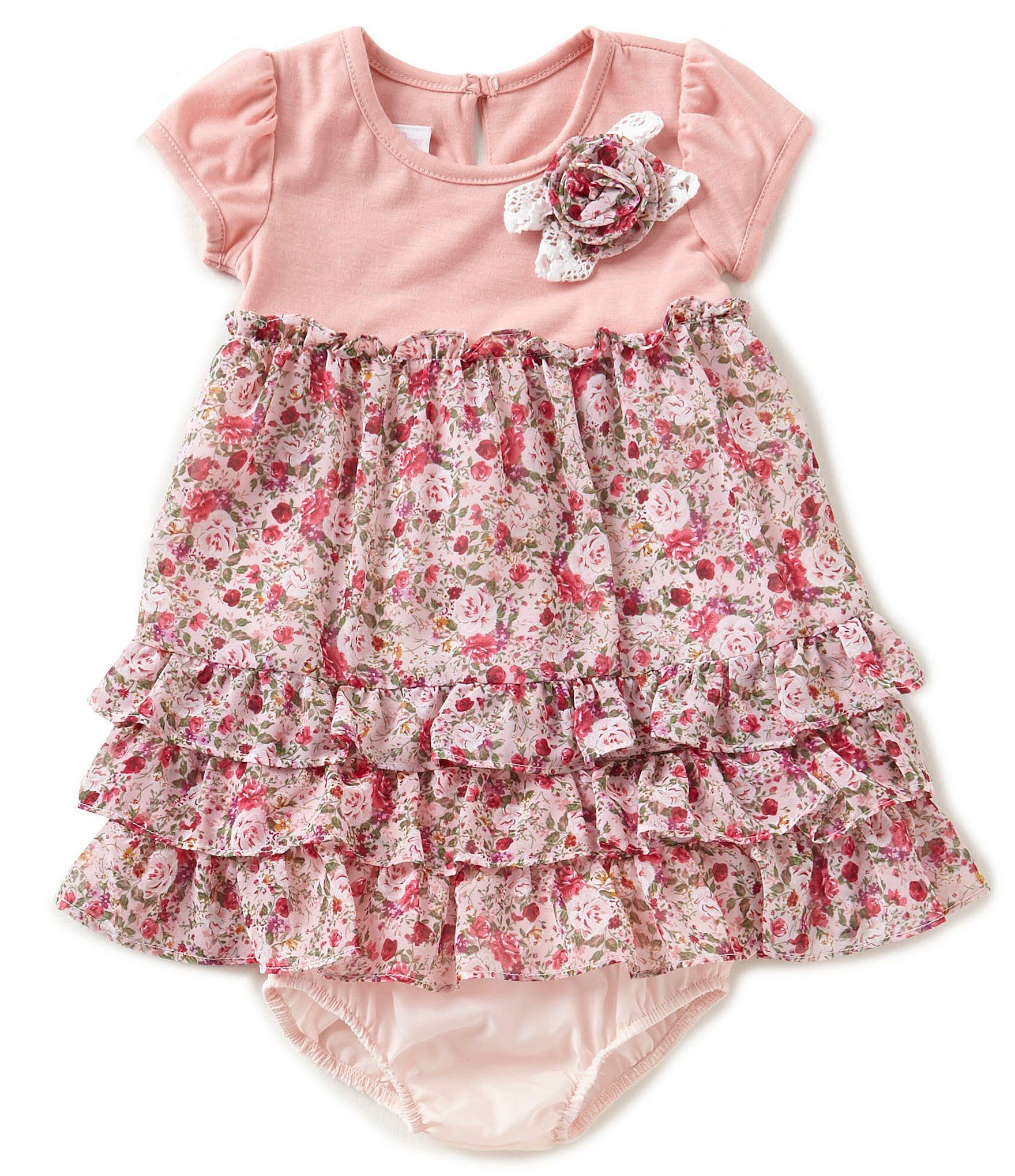 Shop for Bonnie Baby Baby Girls 12 24 Months Knit To Chiffon Floral