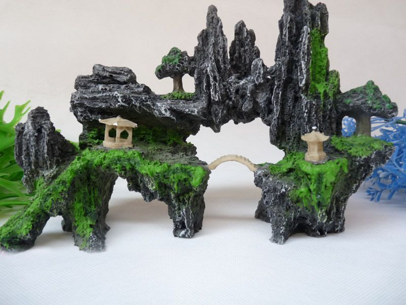 Aquarium decoration hill bridge and tree for fish tank for Aquarium bridge decoration